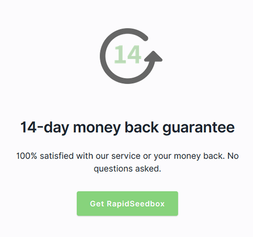 Money-back guarantee RapidSeedbox