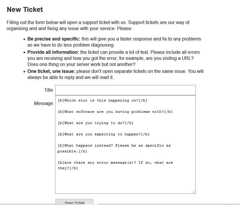 Feral hosting ticket system