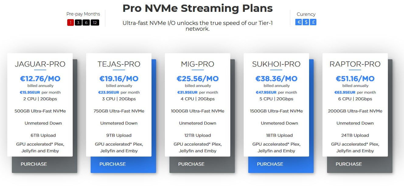 Pro streaming plans