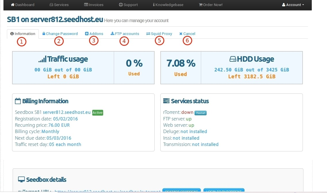 Seedhost.eu customer dashboard